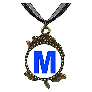 Chicforest Bronze Retro Style Blue Letter M Rose Flower Pendant