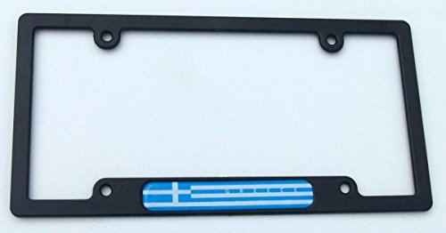Greece Greek Flag Black Plastic Car License plate frame domed decal insert (Frame License Greek Plate)