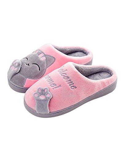 William & Kate Damesslippers Warme Schattige Skid Zachte Katoenen Causl-slippers Plus Roze Thuis