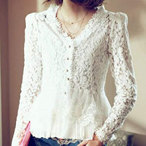 Blusa de Encaje para Mujer, Elegante, Camisa de Verano Blanca con Mangas Florales: Amazon.es: Hogar