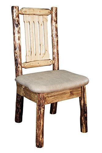 Montana Woodworks MWGCKSCNBUCK Glacier Country Collection Dining Side Chair with Upholstered Seat, Buckskin Pattern