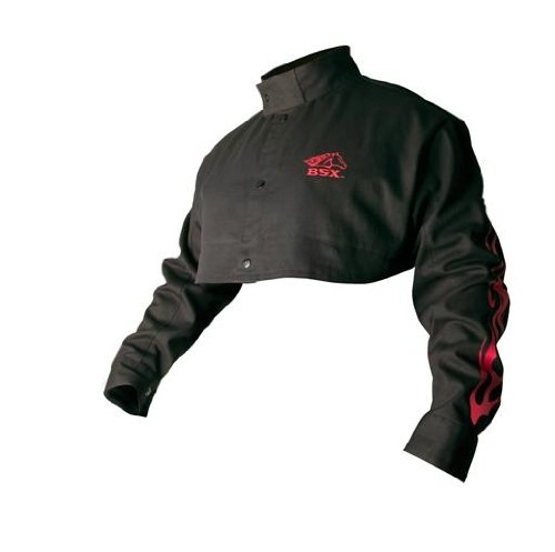 BSX Flame-Resistant Welding Cape Sleeve - Black with Red Flames, Size 2X-Large by Black Stallion