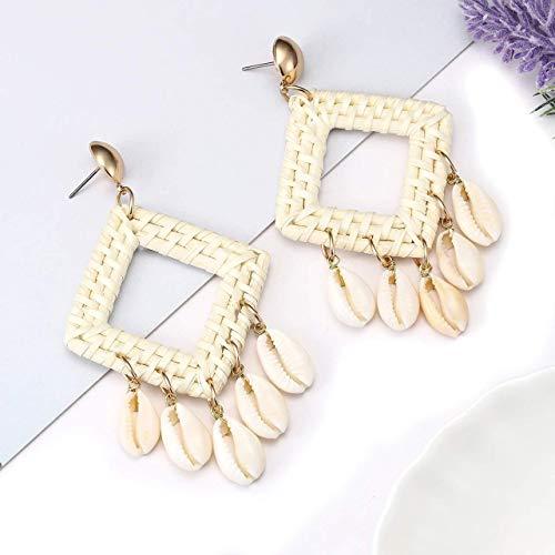 (Rattan Knit Shell Earrings Wood Straw Braid Woven Drop Earrings Bohemia Cowrie Shell Chandelier Statement Dangle Earrings for Women Girls-square)