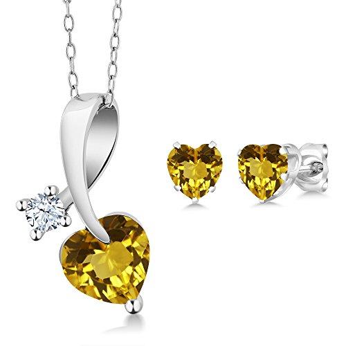 Citrine Earring Pendant - 2.08 Ct Heart Shape Yellow Citrine 925 Sterling Silver Pendant Earrings Set