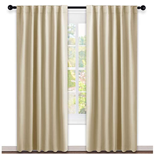 NICETOWN Window Treatment Room Darkening Curtains - (Cream Beige Color) 52 Width X 84, 1 Pair, Curtains and Drapes for Bedroom - Drapes Pair