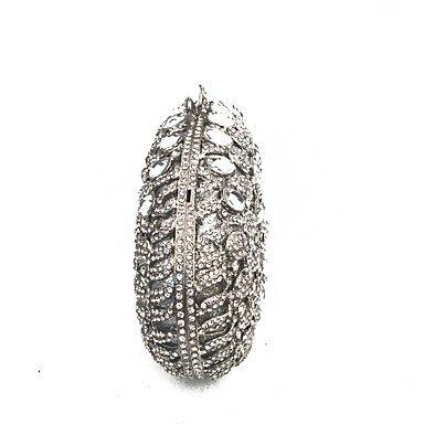 SUNNY KEY-Clutches@Dame Kupplungen Silber verziert mit Kristallen für Abend / Event / Cocktail Gelegenheit