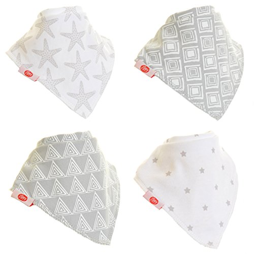 Zippy Fun Baby and Toddler Bandana Bib - Absorbent 100% Cotton Front Drool Bibs with Adjustable Snaps (4 Pack Gift Set) Unisex Grey and White (Everyday Bib)
