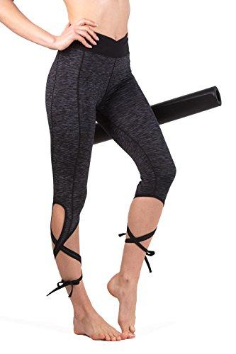 Queenie Ke Women's Yoga Pant Legging Capris String-End Workout Dance Pants Size L Color Black Grey Melange