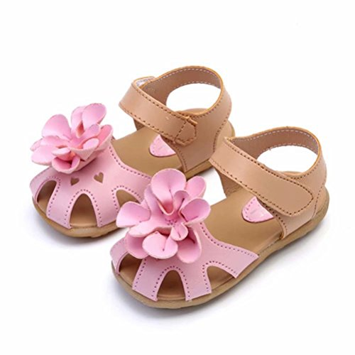 Picture of WONZOM FASHION Girl's Solid Flower Closed-Toe Flat Shoes Outdoor Sport Sandals(Toddler/Little Kid)-26(Pink) …