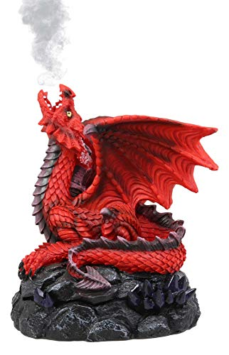 Ebros Gift Stryker The Mythical Smoke Fire Breathing Red Dragon Backflow Incense Cone Burner Figurine 6.25