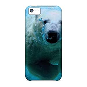 Iphone 5c Hard Back With Bumper Silicone Gel Tpu Case Cover The Diving Polar Bear