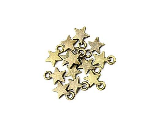 30 PCS Ancient Antique Bronze Fashion Jewelry Making Crafting Charms Findings Bulk for Bracelet Necklace Pendant Retro Accessoires Lots Vintage GQW05 Five-pointed - Findings Star Charms