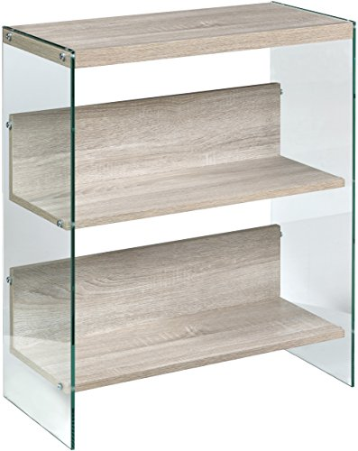Glass Shelf Oak - OneSpace 50-JN19BK3LO Escher Skye Bookshelf, Light Oak