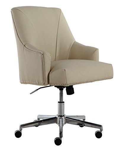 Serta Style Leighton Home Office Chair, Sweet Cream Bonded Leather - Cream Leather Office Chair