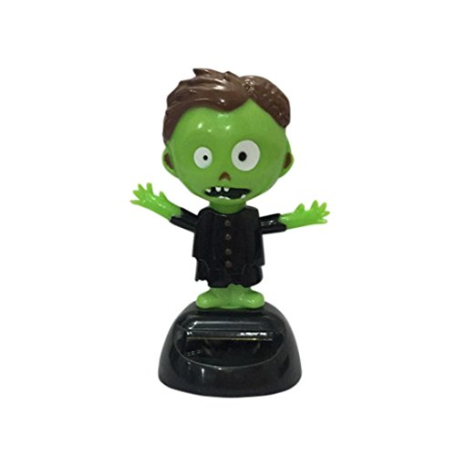 Doll Halloween Decor (Kanzd Halloween Shaking Head Doll Solar Powered Dancing Swinging Animated Bobble Dancer Toy Car Decor)