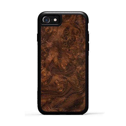 Carved | iPhone 8 | Luxury Protective Traveler Case | Unique Real Wooden Phone Cover | Rubber Bumper | Walnut Burl