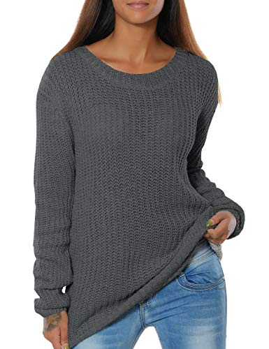 Foshow Womens Sweater Pullover Winter Rib Knit Long Sleeve Warm Sweaters