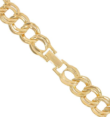 Gold Tone Graduated Chunky Link Circle Chain For Women