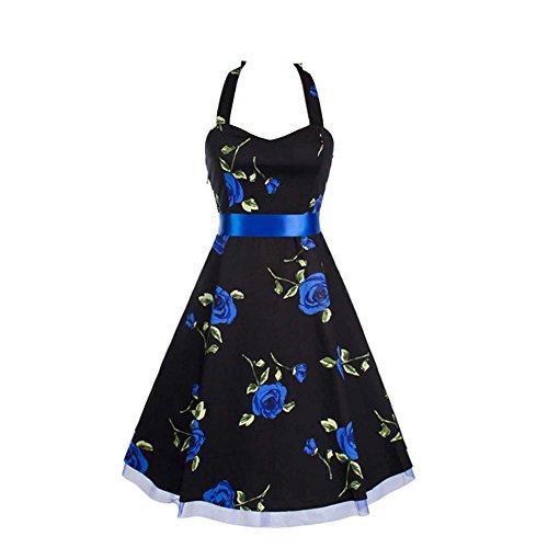 LECIMO Vintage 1950's Floral Halter Tie Neck Cocktail Evening Party Swing Dress (Blue-Floral,Size L) - Halter Vintage Tie