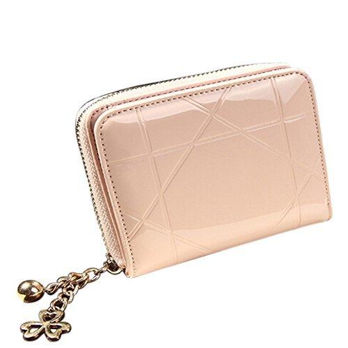 Waygo? Moda in pelle frizione cerniera portamonete borsa breve mini donne portafogli portamonete (rosa)