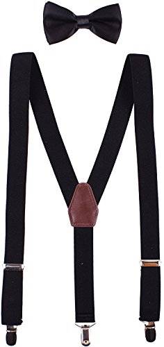 WDSKY Baby Boys' Bow Tie and Suspenders