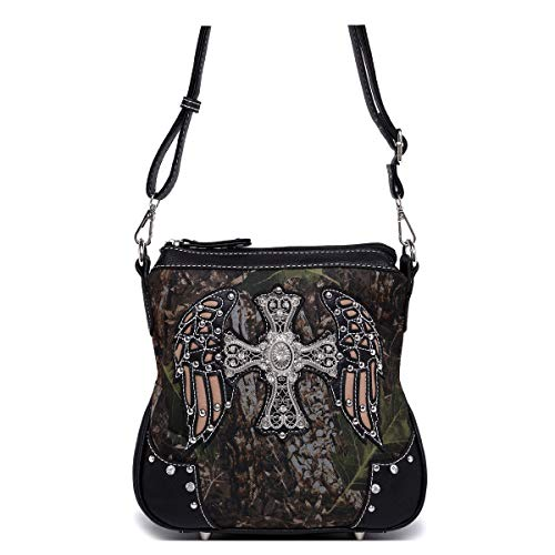 - Western Cross Wings Camouflage Cross Body Handbag Concealed Carry Purse Country Women Single Shoulder Bag (Black)