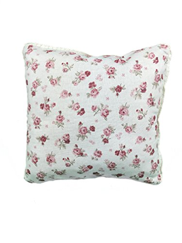 Provence Cotton Throw Pillow Sham With Lace in French Country Style, 16'' x 16'', Red Rose