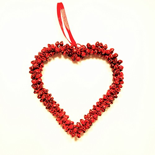 Whole House Worlds The Mini Welcome Wreath Heart, Rustic Red, Iron Bells, Decorative Ornament for Doors, Windows, and More, 6 1/4 Inch by