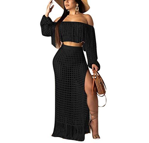 Remelon Women's 2 Piece Hollow Out Beachwear, Off Shoulder Long Sleeve Crop Top & High Slit Maxi Skirt Bikini Cover up Black