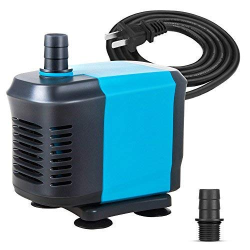 KEDSUM 320GPH Submersible Pump(1500L/H, 20W), Ultra Quiet Water Pump with 4ft High Lift, Fountain Pump with 4.2ft Power Cord, 2 Nozzles for Fish Tank, Pond, Aquarium, Statuary, ()