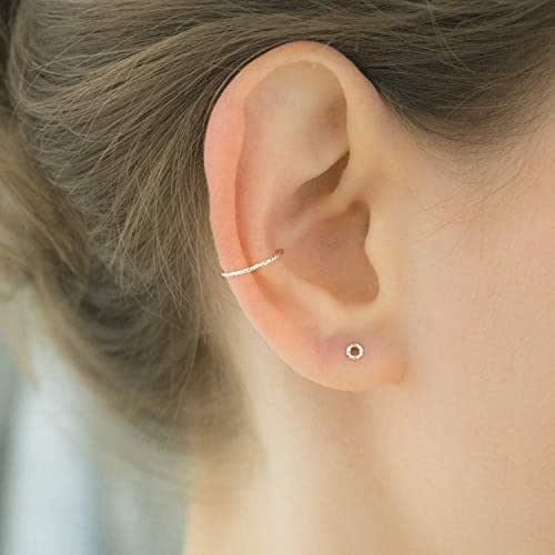 No Piercing Cuff double chain /& 5mm Cubic Zirconia EBJ2CHSS Ear Cuff Silver Ear Band Non-pierced Conch Cartilage Hoop Bajoran Earcuff
