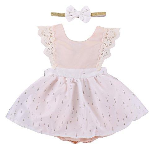 OBEEII Little Big Sister Newborn Baby Toddler Girl Summer Flower Romper Dress Headband Clothes Outfits Family Matching Little Sister 6-12 Months ()