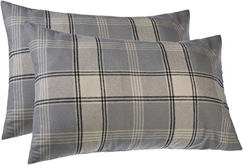 Pinzon 160 Gram Plaid Flannel Pillowcases – King, Grey Plaid - Cotton Flannel Pillowcase