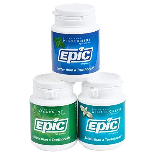 - Epic Dental 100% Xylitol-Sweetened Gum, Fresh Mint Flavors Gum Bundle (50-Count Bottles, Pack of 3)