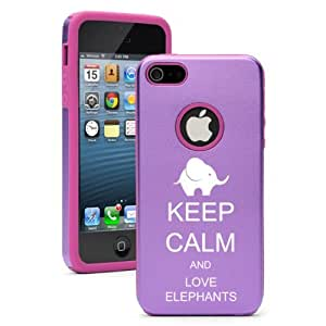 Apple iPhone 5 5S Purple 5D143 Aluminum & Silicone Case Cover Keep Calm and Love Elephants