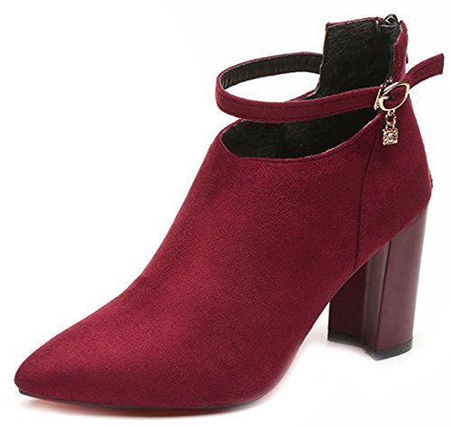 Pointy Red Aisun Buckle Frosted Booties Toe Graceful Women's Ovxv07E