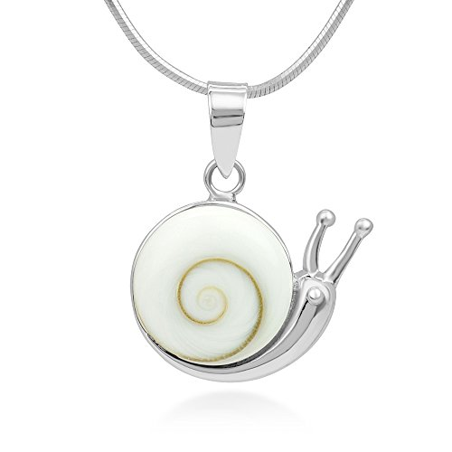 - 925 Sterling Silver Adorable Shiva Eye Shell Snail Inlay Round Pendant Necklace, 18