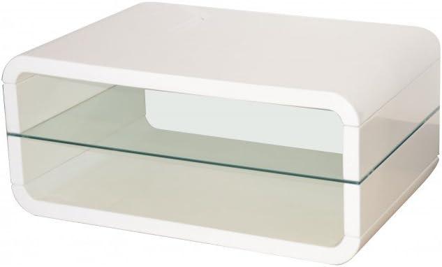 4 Rollen Couch Tisch FONDA MDF hochglanz weiß lackiert Sicherheitsglas inkl