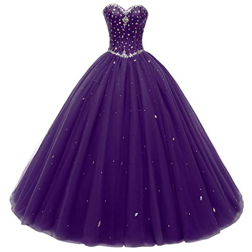 Beautyprom Women's Sweetheart Ball Gown Tulle Quinceanera Dresses Prom Dress Purple US8 ()