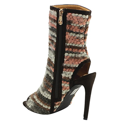 Cape Robbin Fg52 Womens Haute Tige Talon Ouvert Cheville Bottines Marron