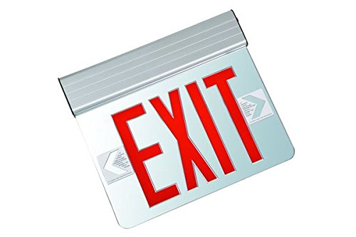 LED Exit Sign - Edge-Lit - Red Letters - 120/277 Volt - Aluminum - Fulham FHNY23-A-S-AC