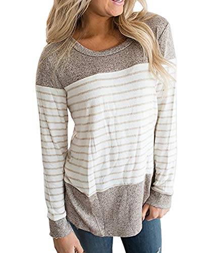 et Fashion Automne Hauts Raye Longues Manches Jumpers Sweat Rond Pullover Kaki Shirts Tops Col Shirts JackenLOVE Printemps Patchwork Casual T Femmes Blouse Tunique Pulls 45Sxpq