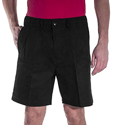 Button Waist Elastic (Creekwood Elastic Waist Twill Shorts for Big & Tall Men – 44 – Black)