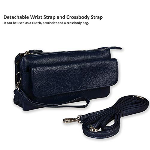 Wallet Strap Clutch Wrist Crossbody Strap with Smartphone Wristlet Slots Large Leather Shoulder Befen Blue Card Navy vXnx1aBwq