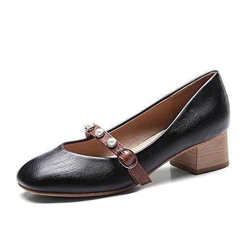 Zapatos La Primera Subida 3 Y De GAOLIM Luz Zapatos Transpirable Mujer Perla Con Zapatos Negrita Y Luz Mujer De Taladro Ranurada De Solo Calzado Solo 5Cm Zapatos Amarre Saliva Negro Solo Casual gB4wgxCqP