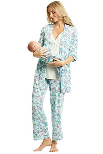 Everly Grey Women'sRoxanne 5 Piece Maternity and Nursing PJ Pant Set with Robe and Matching Baby...