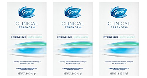Secret Clinical Strength  Deodorant and Antiperspirant for Women, Invisible Solid, Sensitive Unscented, 1.6 Oz (pack of 3)