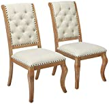 Glen Cove Dining Chairs with Button Tufting and Nailhead Trim Cream and Barley Brown (Set of 2) Review