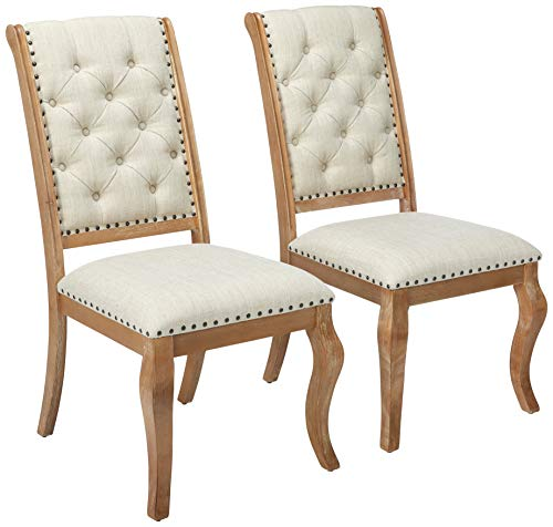 Glen Cove Dining Chairs with Button Tufting and Nailhead Trim Cream and Barley Brown (Set of 2) (Room Colored Dining Sets)