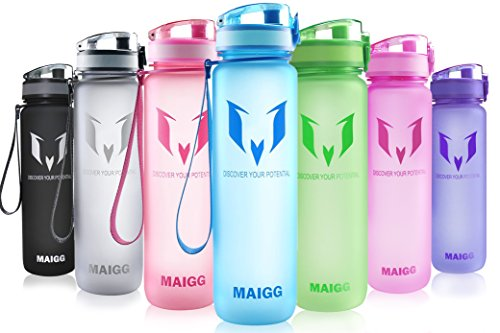 MAIGG Best Sports Water Bottle - 32oz - Eco Friendly & BPA-Free Plastic - Fast Water Flow, Flip Top, Opens With 1-Click - Reusable with Leak-proof Lid